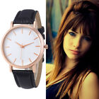 Fashion Men Womens Stainless Steel Faux Leather Watch Ladies Casual Wristwatches
