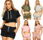 Womens Cropped Tracksuit Co-ord Twin Set Ladies Hoodie Crop Top Hot Pants Short