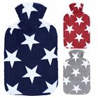 Large Natural Rubber Hot Water Bottle / Fleece Cover Red Grey Navy Blue Stars