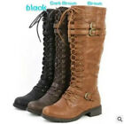 Women Fashion Low Flat Heel Mid-Calf Knee High Riding Boot Shoes Size 34-43 GIFT