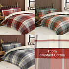 Classic Checked Duvet Cover Set in 100% Brushed Cotton Flannelette - Reversible
