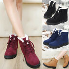 Womens Suede Fur Lace-up Ankle Boots Winter Warm Casual Snow Boots Ski Shoes