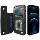 For iPhone 12 Pro Max / 12 Mini Shockproof Rugged Leather Card Wallet Case Cover