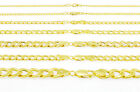 "REAL 10K Yellow Gold 2MM-11MM Cuban Curb Chain Link Necklace Men Women 16""-30"""
