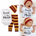3pcs Set Harry Potter Baby Bodysuits Pants Hat Outfits Sets Boys Girls Costumes