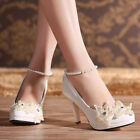 Women Royal Ankle Pearl Evening Party Shoes Princess Wedding Bridal High Heels