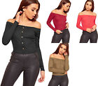 Womens Ribbed Knitted Off Shoulder Bardot Stretch Long Sleeve Ladies Crop Top