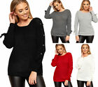Womens Pearl Long Lace Up Tie Sleeve Cable Knitted Top Round Neck Ladies Jumper