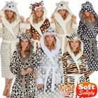 Luxury Xmas Santa Ladies Soft Long Collar Hooded Fleece Bath Robe Dressing Gown
