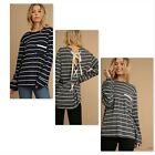 Umgee USA Ladies L/S Striped Top w/Pocket and Back Shoe Lace Tie 2 Colors S-L
