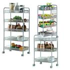 3/4/5 Layer Rack Shelf Shelving Rolling Kitchen Pantry Storage Utility Cart US