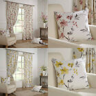 """Odelia Floral Printed Lined Ready Made 3"""" Tape Top Pencil Pleat Curtains Pair"""