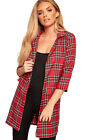 Womens Faux Pocket Tartan Check Print Long Sleeve Open Blazer Top Ladies Jacket