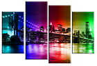 Brooklyn Bridge New York rainbow canvas picture 4 panel or single piece canvas