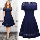 Women's Vinrage 1950s Elegant Cocktail Evening Party Lace Contrast A-line Dress