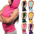 New Womens Sexy Fitness Bodybuilding Tank-Tops Hoodie Hooded Breathable Gym Vest