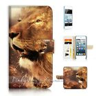 ( For iPod Touch 5 ) Wallet Case Cover P21183 Lion