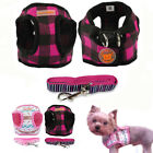 Soft Puppy Vest Small Pet Dog Harness and Matching Leash Set Pink Black XS S M