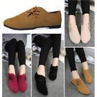 Women Fashion Retro Suede Flat Heel Comfy Loafers Anti-slip Brogues Casual Shoes