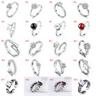 Wholesale Silver Plated Women Fashion Crystal Adjustable Rings Open 925 Gift
