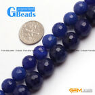 Dark Blue Jade Faceted Round Beads For Jewelry Making Free Shipping Strand 15""