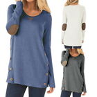 2017 Women Crewneck  Casual Double Buttons T Shirt Long Sleeve Loose Blouse Tops