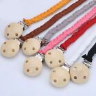 Wooden Baby Dummy Soother Pacifier Clip Handmade Braided Leather Chain Holder