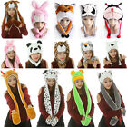 Kids Hard Hat Animal Scarf Cap Winter Cute Warm Mittens 1 Earmuff Plush Full 3