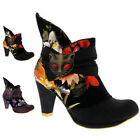 Womens Irregular Choice Miaow Mid Heel Evening Floral Cat Ankle Boots UK 3.5-8.5