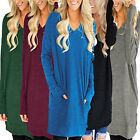 Women Fashion Long Sleeve T-Shirt Casual Blouse Pocket Pullover Solid Mini Dress