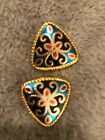 """Vintage gold Blue, Ruby Red enamel twisted gold rope 1"""" diamond shape earings"""