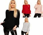 Womens Cable Knitted Long Bell Sleeve Ruffle Frill Sweater Top Ladies Jumper