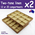 NEW 2X Jewellery Tray | Two-Tone LINEN | 12 or 20 Compartments | AUSSIE Seller
