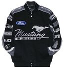 Ford Mustang Racing Jacket Collage Mens Black Twill Jacket by JH Design