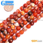 8mm Dzi Fire Agate Gemstone Faceted Round Beads Free Shipping Assorted Colors