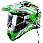 Snow Master TX-27 Green Dual Visor Full Face Heated Shield Snowmobile Helmet