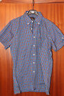 Vintage Ben Sherman shirt, blue-turquoise-red-black, size S, short sleeve
