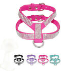 Rhinestone Diamante Dog Harness Suede Leather for Girl Dogs Pet Puppy Chihuahua