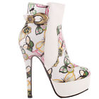 White Multicoloured Embroidered Butterfly Buckle Platform Stiletto Ankle Bootie