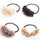 4 Colors Pearl Beads Hair Ties Band Elastic Rope Scrunchie Bobble Hair Accessory