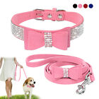 Bling Bowknot Suede Leather Rhinestone Dog Collar and Leash for Boy Girl Dogs