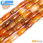 "Natural Carnelian Agate Gemstone Beads Free Shipping 15"" Tube Diagonal Assorted"