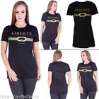 Womens T-Shirt Ladies Fitted Round Neck Stripped Print Short Sleeve Casual Top M