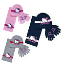 Girls Hello Kitty Hat Scarf And Glove Set New Kids Comic Sets Age 3-12 Years