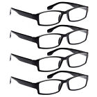 ALTEC VISION 4 Pack Unisex Spring Hinge Black Frame Readers Reading Glasses