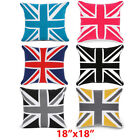 """100% Cotton Union Jack Cushion Covers,Sofa Cases Couch Pillow 18""""x18"""" Piped Edge"""