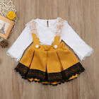 UK Stock Kid Baby Girl Lace Jumpsuit Romper Bodysuit Bowknot Skirt Dress Outfits