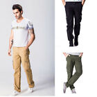 Stylish Cotton Solid Full Length Trousers Summer Loose Cargo Pants Men Leisure