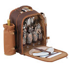 Picnic Backpack For 4 Person Family Lunch Set w/ Insulated Cooler Camping