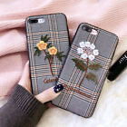Fashion Cute embroidery Flowers Leather soft case Cover for iPhone X 8 7 6S Plus